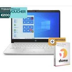 """HP Laptop 14-dk1008nv 14"""" FHD  (AMD Ryzen 3-3250U ,8GB ,256GB SSD ,AMD Graphics) Silver 187U5EA + 2 Χρόνια Εγγύηση U8231E + antivirus (1 Licence - 2 Year)"""