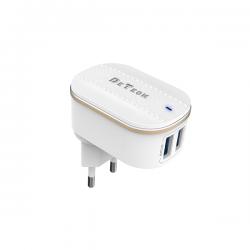 Φορτιστής δικτύου DeTech DE-15, 5V/3.1A, 220V, 2 x USB, λευκό - 40095