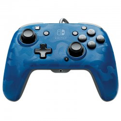 PDP Faceoff Deluxe+ Audio Wired Controller - Blue Camo For Nintendo Switch